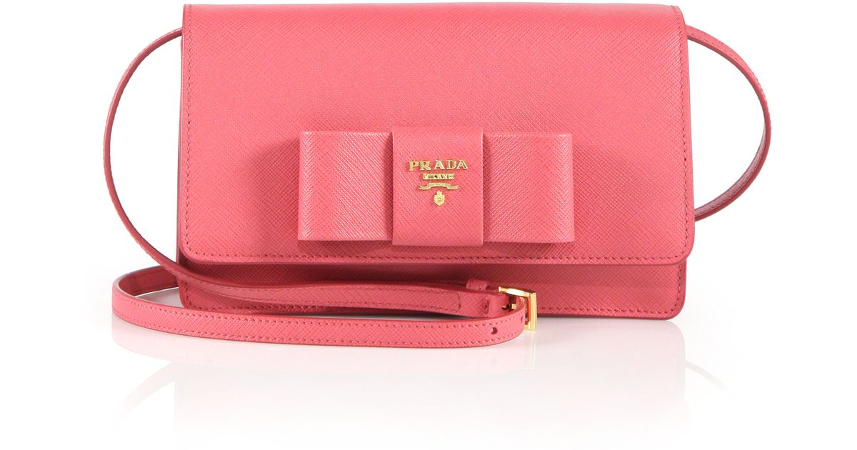 7e8607d6f917 ... coupon for lyst prada saffiano lux bow crossbody bag in pink 1ccfb  6e402 ...