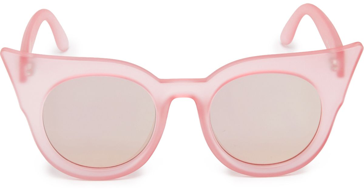 6258329a904 Lyst - Le Specs Flashy Flat Lense Mirrored Sunglasses in Pink
