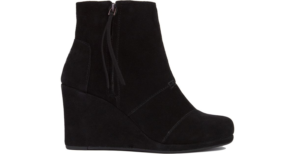 ea11860bd37 Lyst - TOMS Desert Wedge High Ankle Boots - Black Suede in Black