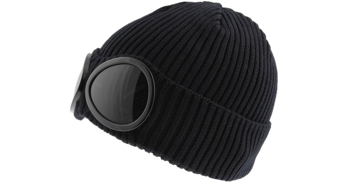 d48f8d87a C P Company Blue Cp Company Goggle Beanie Hat for men