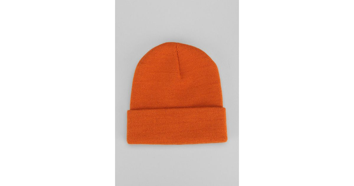 Lyst - Urban Outfitters Uo Classic Beanie in Orange for Men f869c56535c8