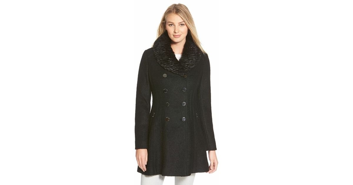 e952cfff7 Guess Black Faux Fur Collar Double Breasted Boucle Coat