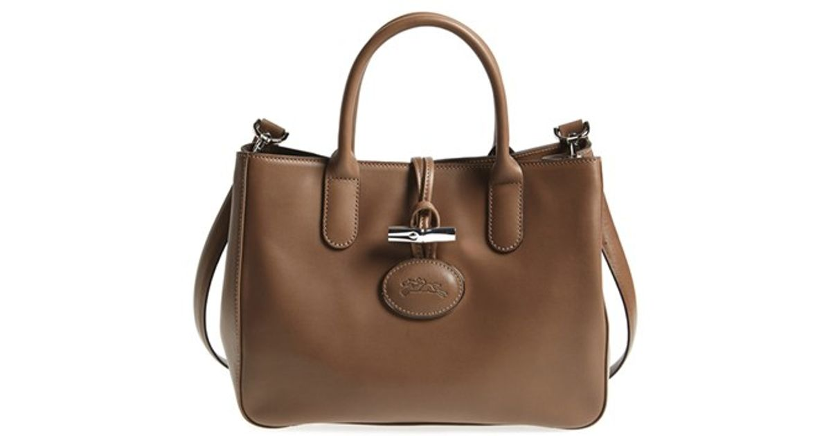 Lyst Longchamp Roseau Heritage Leather Tote In Brown