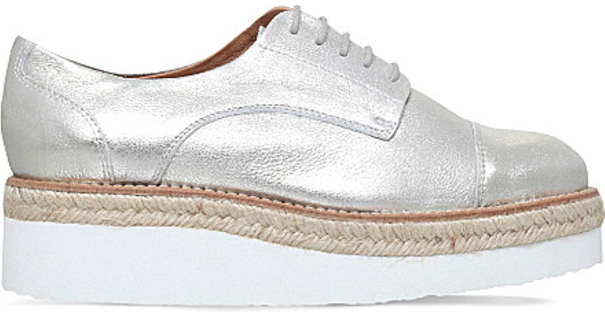 Discount Carvela Silver Lila Leather Flatform Casual Shoes for Women Sale