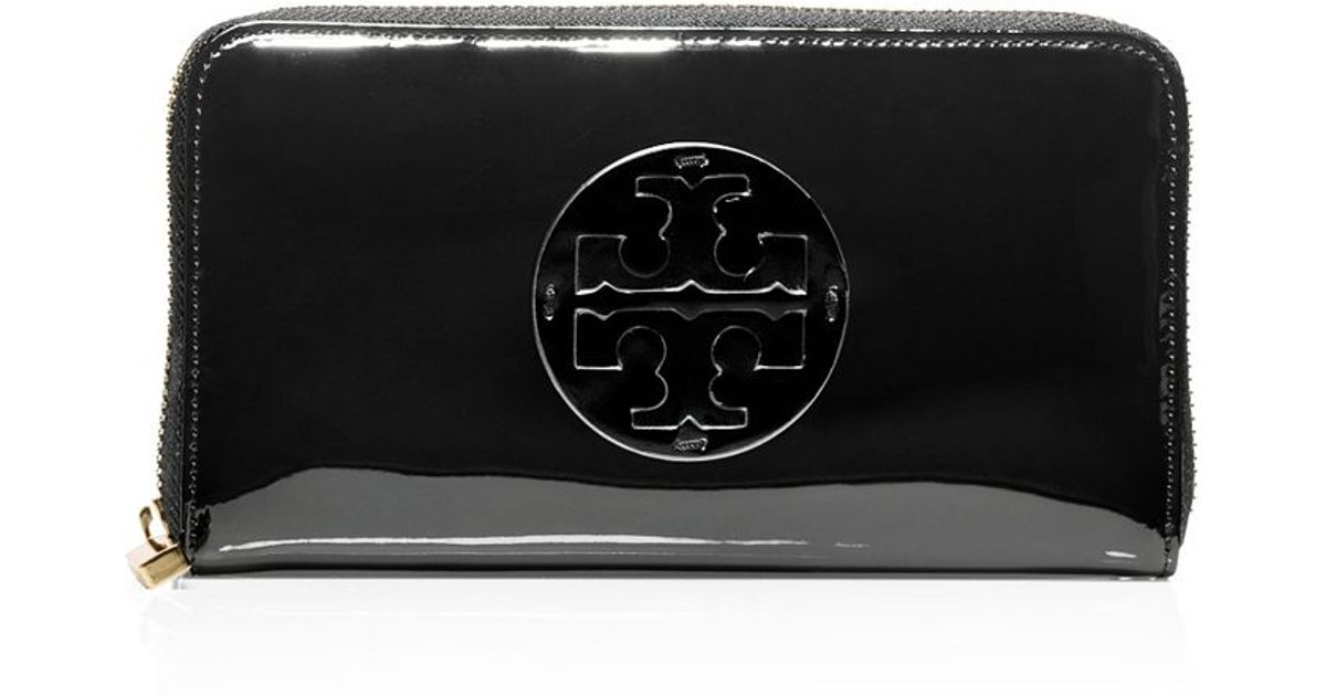Tory Burch Patent Leather Continental Wallet In Black