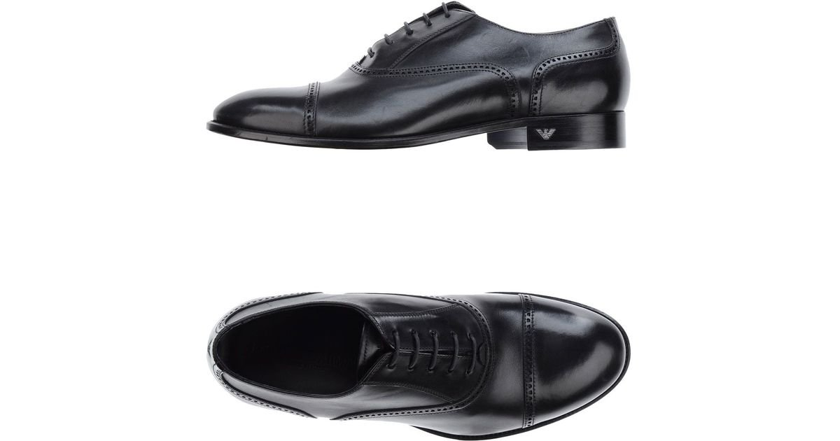 emporio armani lace up shoes in black for lyst