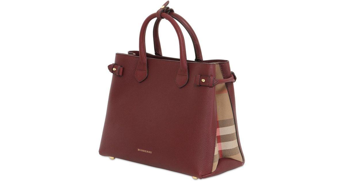 532d91000a44 Burberry Purple Medium Banner Leather & Check Bag