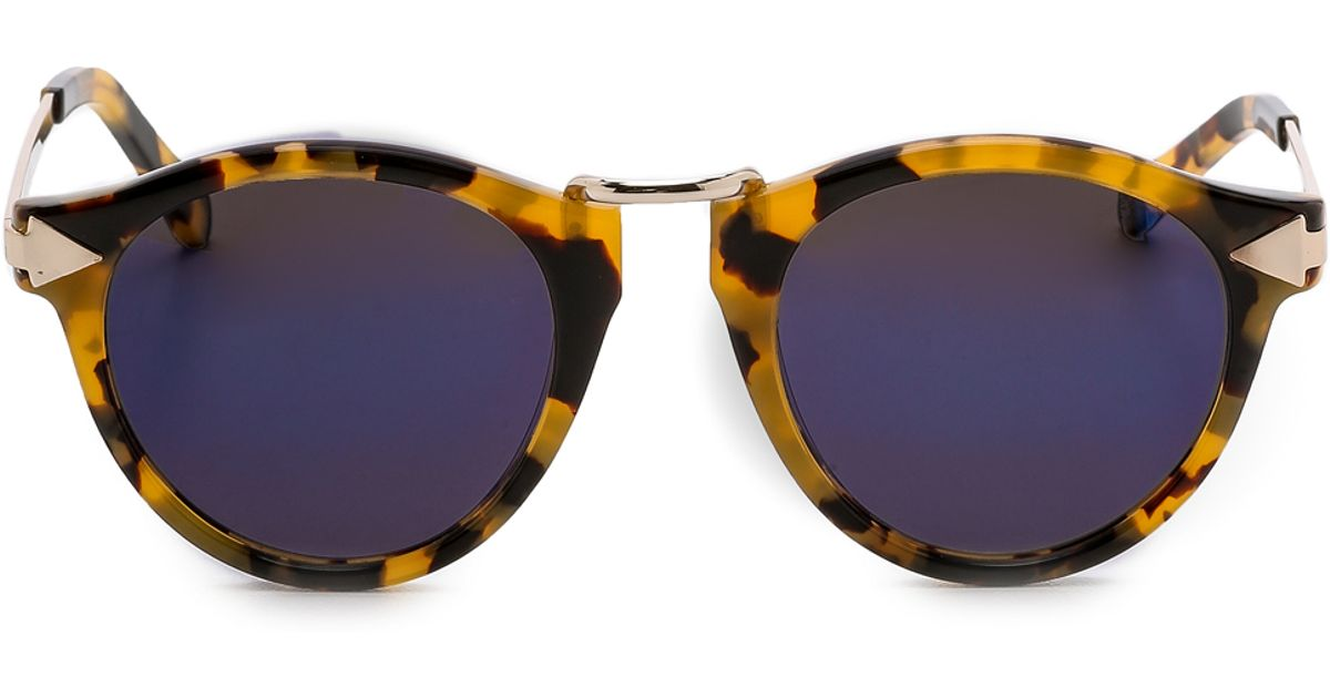 708fb988ca5 Lyst - Karen Walker Superstars Collection Helter Skelter Mirrored Sunglasses  - Crazy Tort blue Revo in Brown