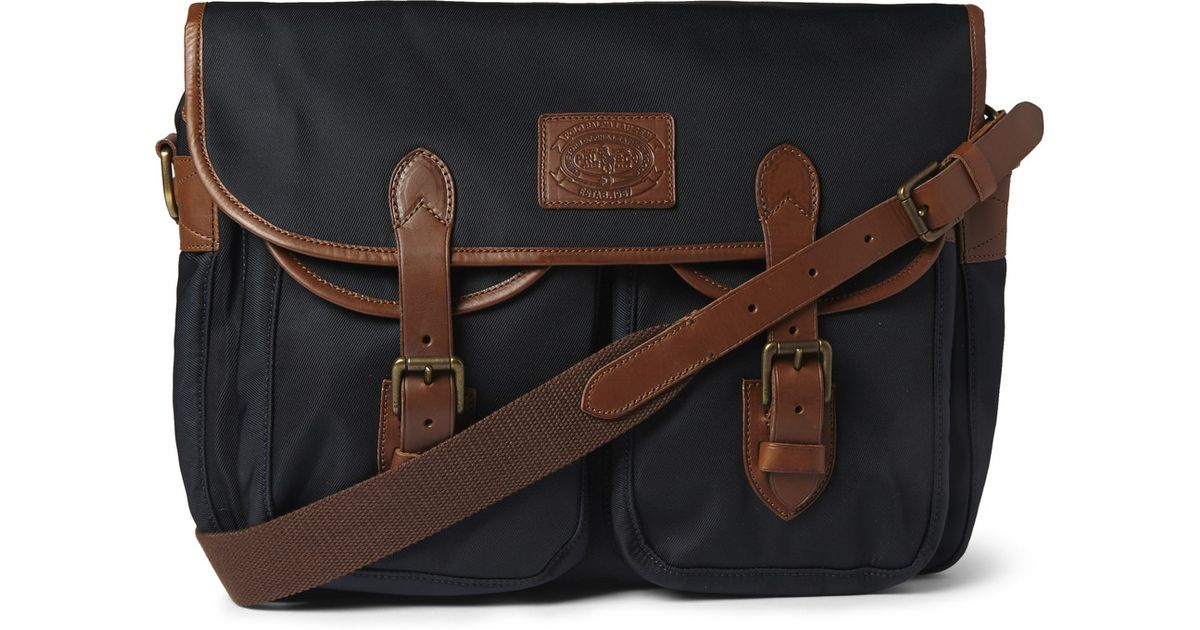 Polo Ralph Lauren Leather-Trimmed Canvas Messenger Bag in Blue for Men -  Lyst ec6f7db8a5c09