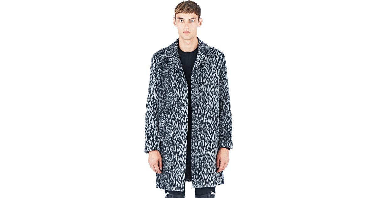 d14e151c2d74 Lyst - Saint Laurent Leopard Print Faux Fur Coat in Blue for Men