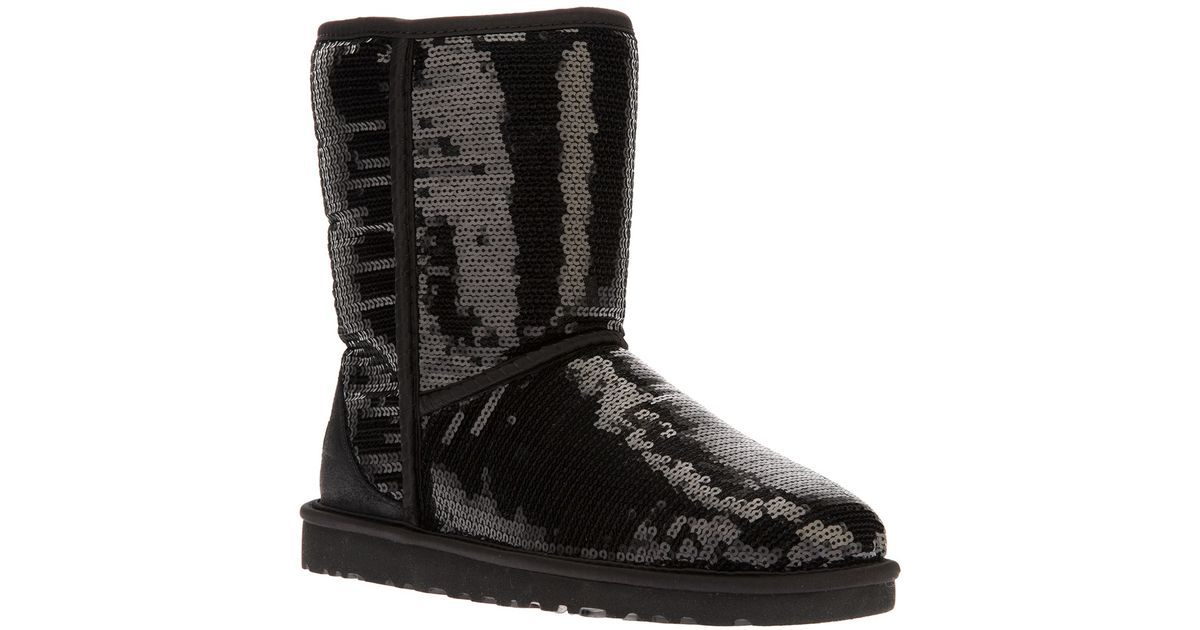 UGG 'Classic Short Sparkles' Boot in Black - Lyst