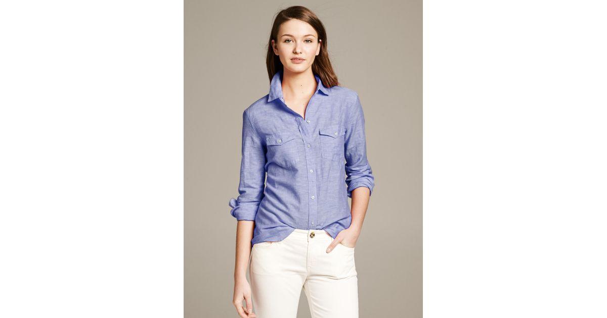 d52cdf63f90a9 Lyst - Banana Republic Soft-Wash Utility Shirt in Blue