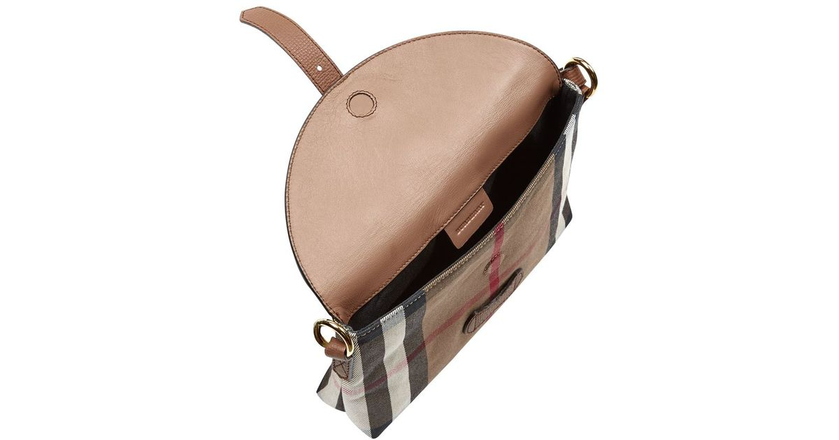 2e3eaec6787 Burberry Small House Check Crossbody Bag in Brown - Lyst