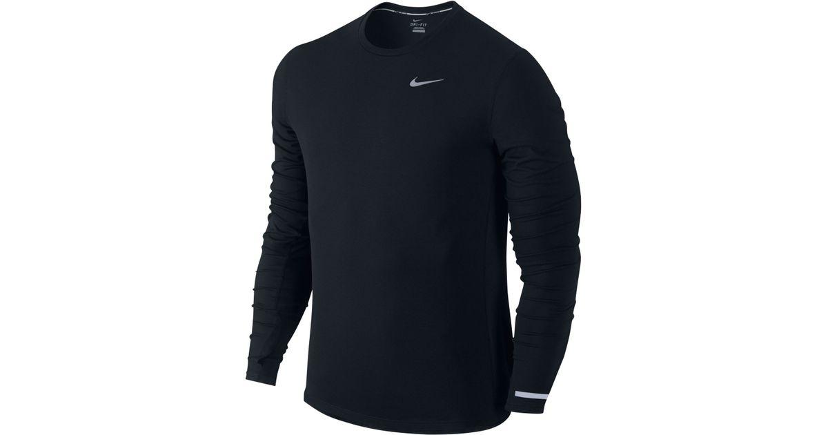 420c59419 Nike Dri-fit Contour Long-sleeve T-shirt in Black for Men - Lyst
