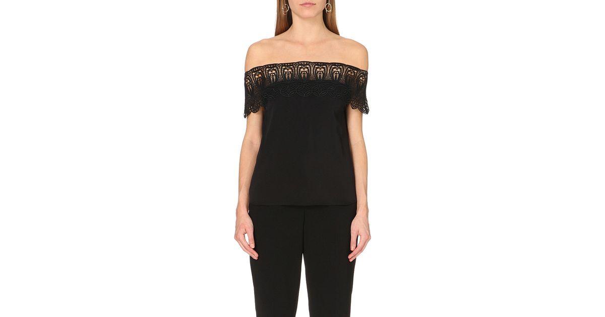 3ffa6f27682d6 Lyst - Self-Portrait Bardot Off-the-shoulder Lace Top in Black