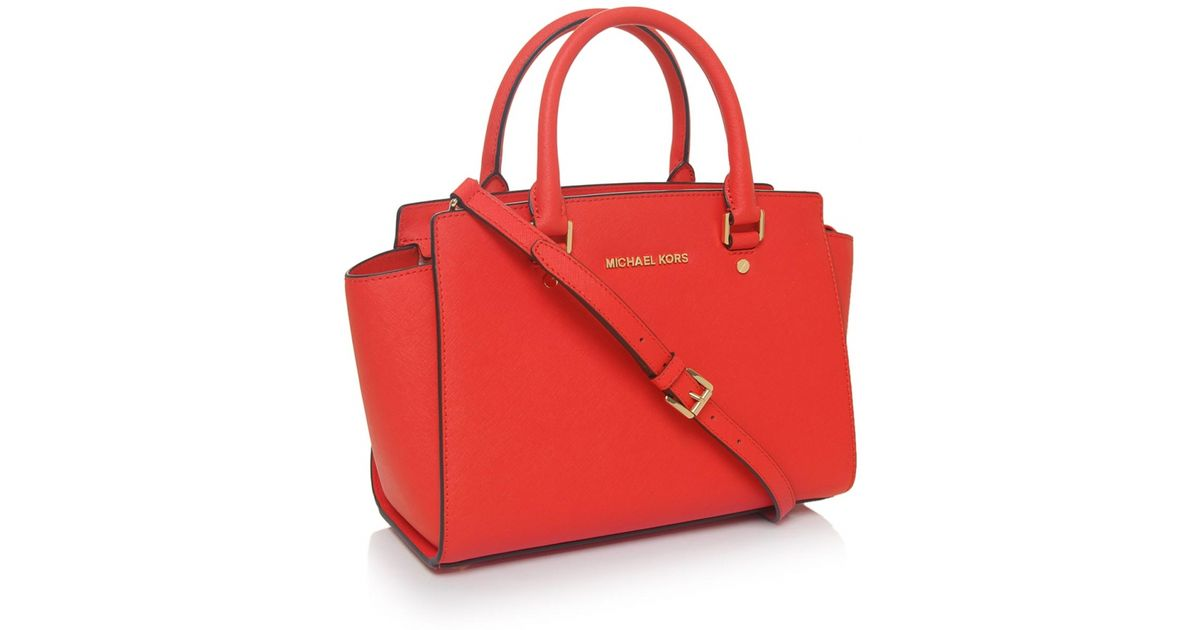 98a7ea63729eb ... closeout lyst michael michael kors selma medium tote bag in orange  f2840 e36a6
