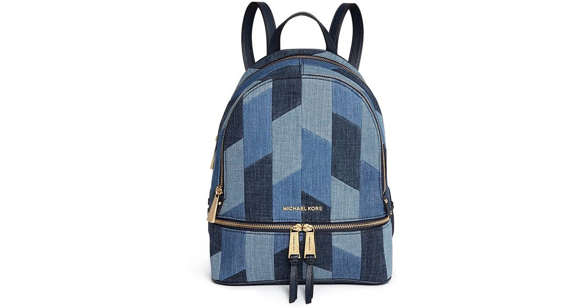 2c1869765a33 Michael Kors 'rhea' Medium Mosaic Patchwork Denim Backpack in Blue - Lyst