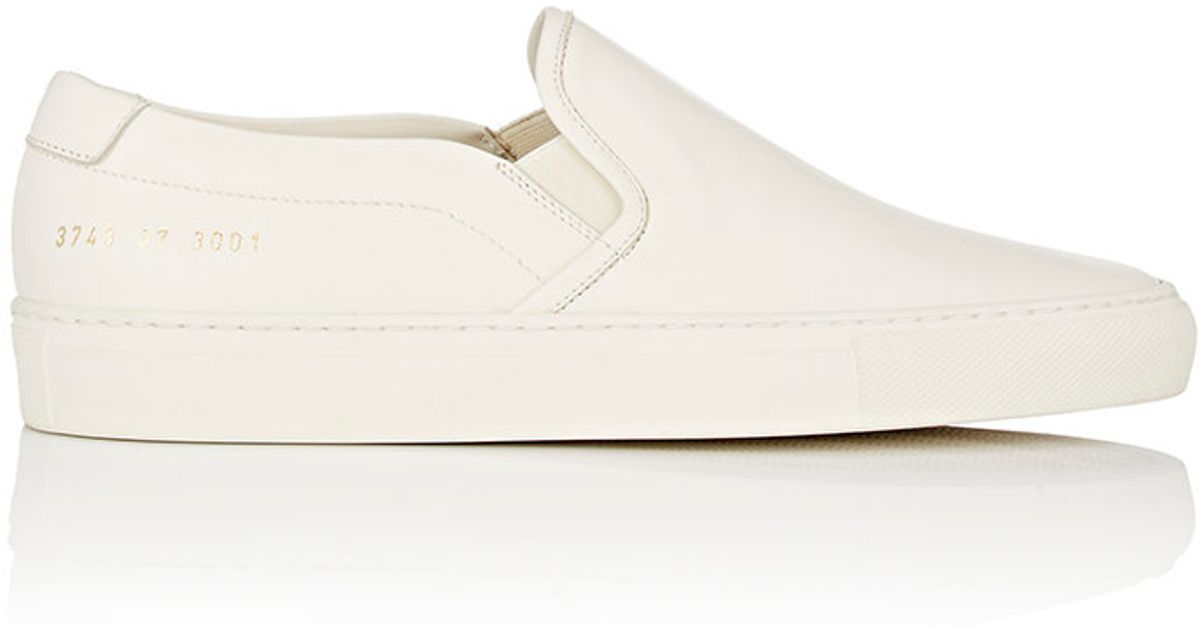 common projects leather slip on sneakers in white lyst. Black Bedroom Furniture Sets. Home Design Ideas