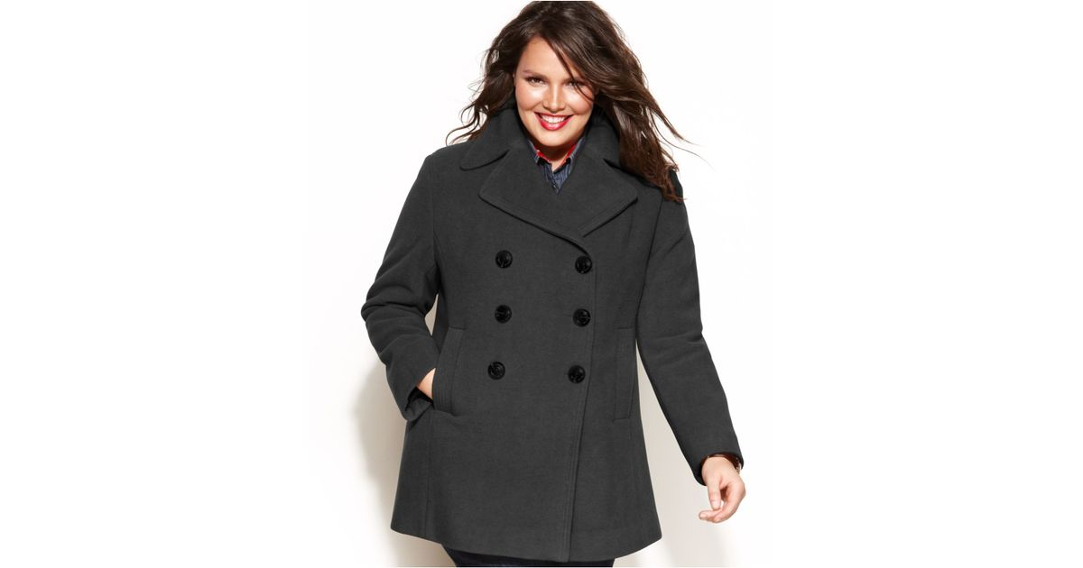4d04581f85835 Lyst - Kenneth Cole Reaction Plus Size Double-Breasted Wool-Blend Pea Coat  in Gray