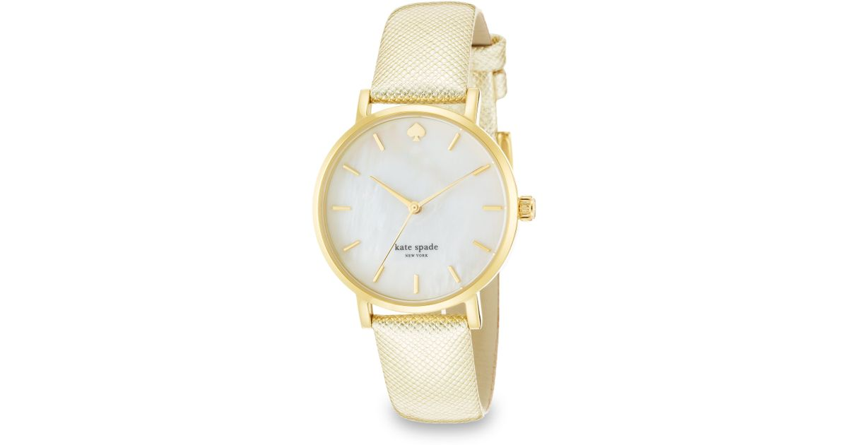 7550c38f957 Lyst - Kate Spade Metro Goldtone Stainless Steel   Metallic Saffiano  Leather Strap Watch in Metallic