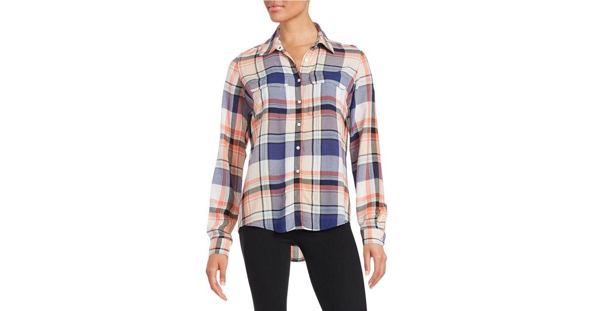 Guess Long Sleeve Plaid Shirt Lyst