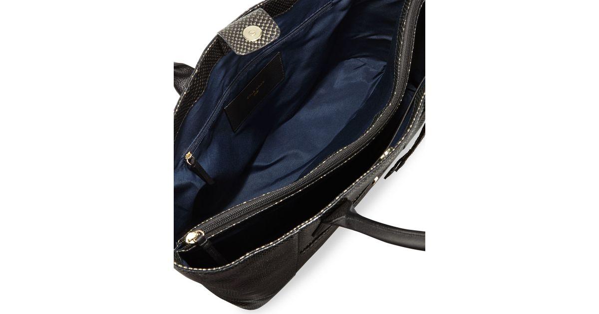 bdbaf46b38 Lyst - Cole Haan Mila Snake-embossed Leather Tote Bag in Black