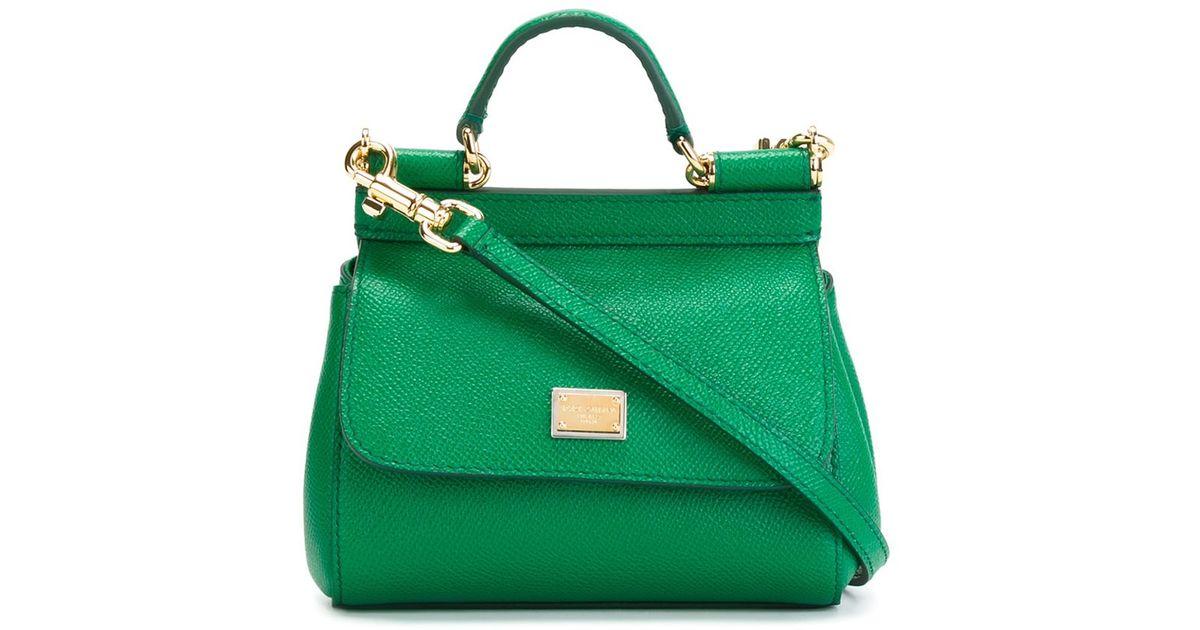 f34b1a687e Lyst - Dolce   Gabbana Sicily Mini Leather Tote in Green