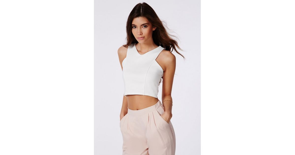 8d02f4481f9f Lyst - Missguided Krystyna White Scuba Crop Top With V-neck in White