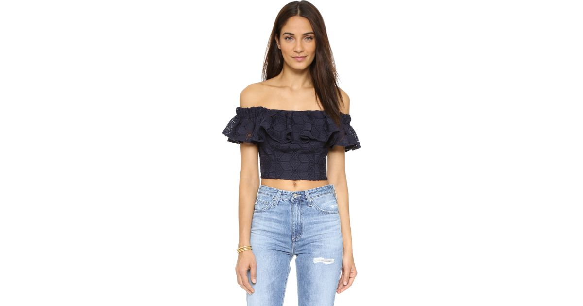 169bee1069a3d Lyst - Rebecca Taylor Off Shoulder Dia Lace Blouse in Blue