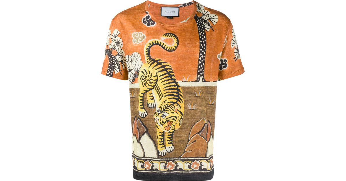 Gucci Tiger Print Linen Jersey T Shirt In Orange For Men