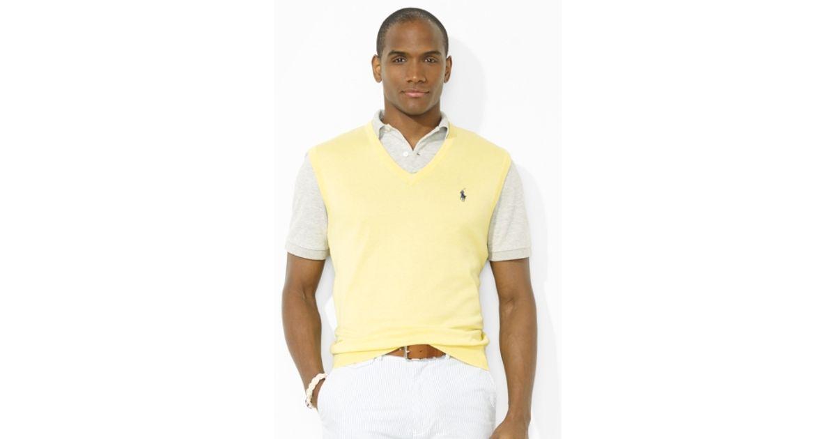 Polo ralph lauren Vneck Sweater Vest in Yellow for Men | Lyst