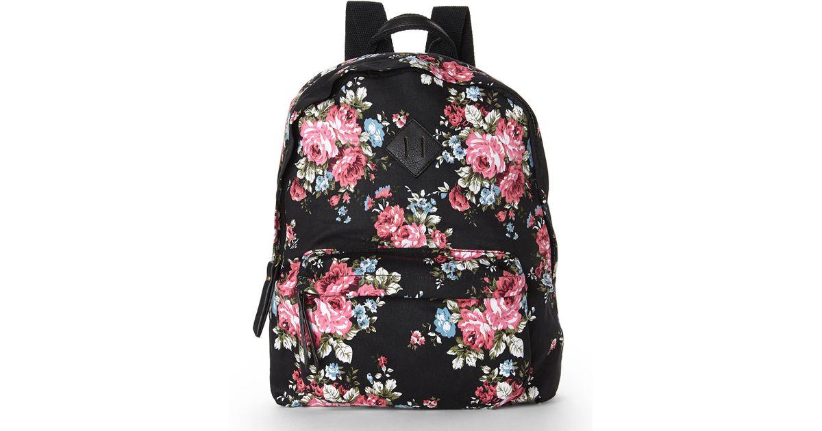 Lyst - Madden girl Black & Rose Floral Backpack