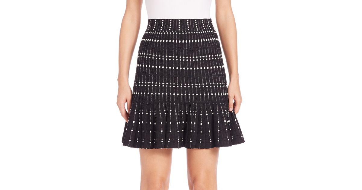 mcqueen striped pleated knit skirt in black