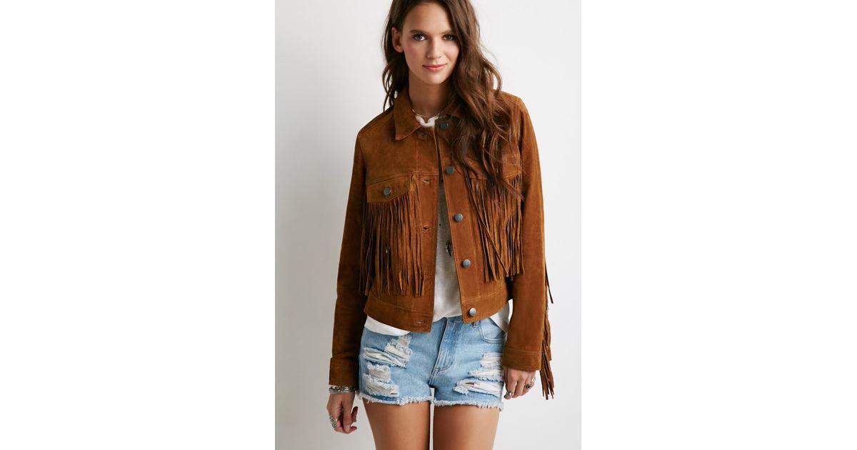 c0dd49ab8 Forever 21 Brown Suede Fringe Jacket