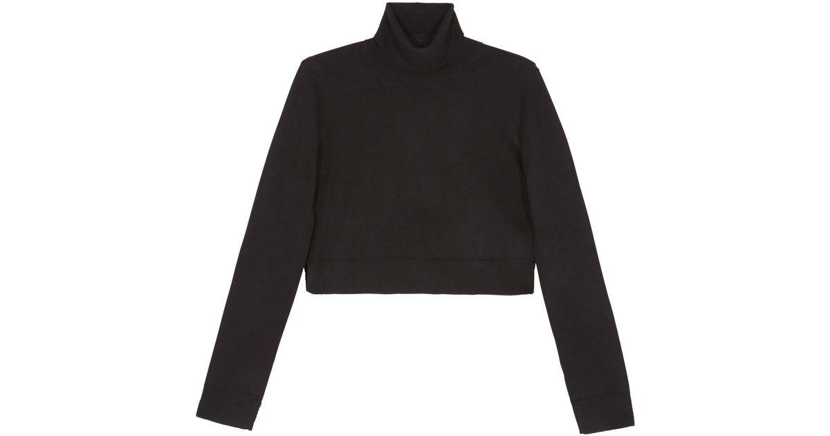 2ce19b2e5bb BCBGMAXAZRIA Black Natassia Cropped Turtleneck Wool Sweater