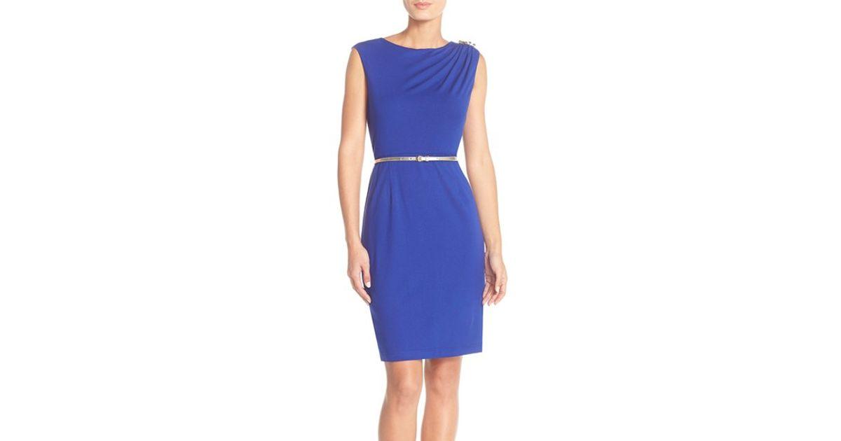 0bb2a92e6b9 Lyst - Ellen Tracy Ruched Shoulder Jersey Sheath Dress in Blue