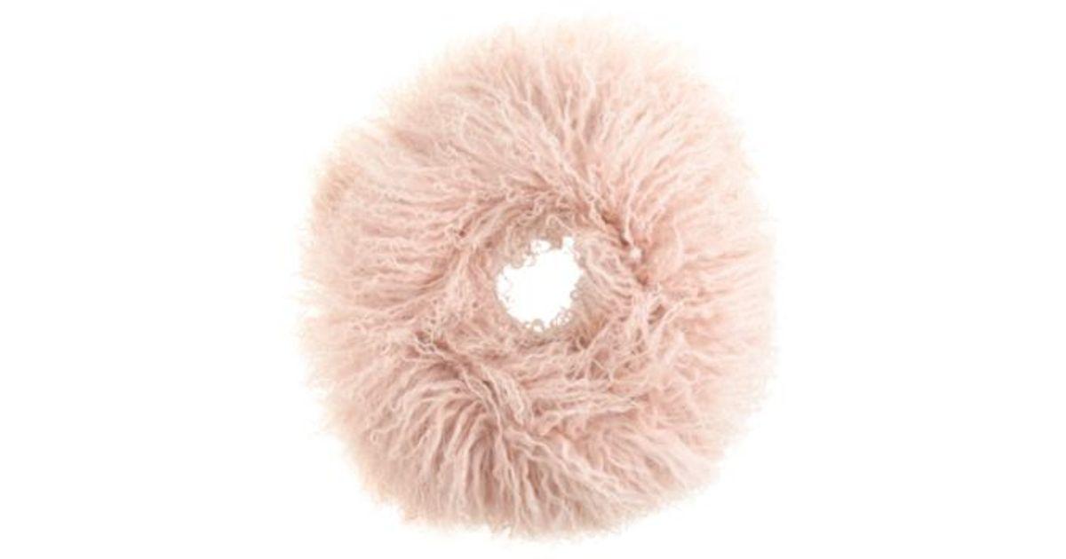 Women's Pink Mongolian Shearling Infinity Scarf by J.Crew