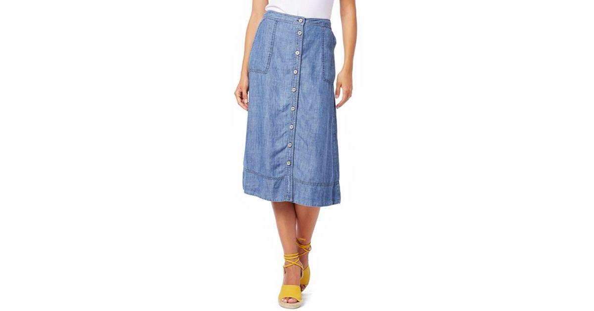 c5812ddc8b9246 Michael Stars Chambray Button Down A-line Midi Skirt in Blue - Lyst