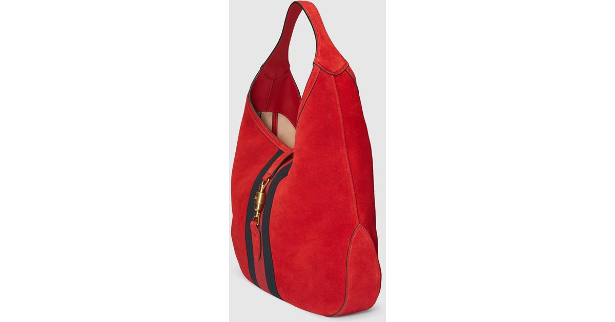 e26ca611a485 Gucci Jackie Soft Suede Hobo in Red - Lyst