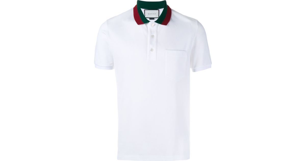 773e59a7af8b84 Gucci Striped Collar Polo T-shirt in White for Men - Lyst