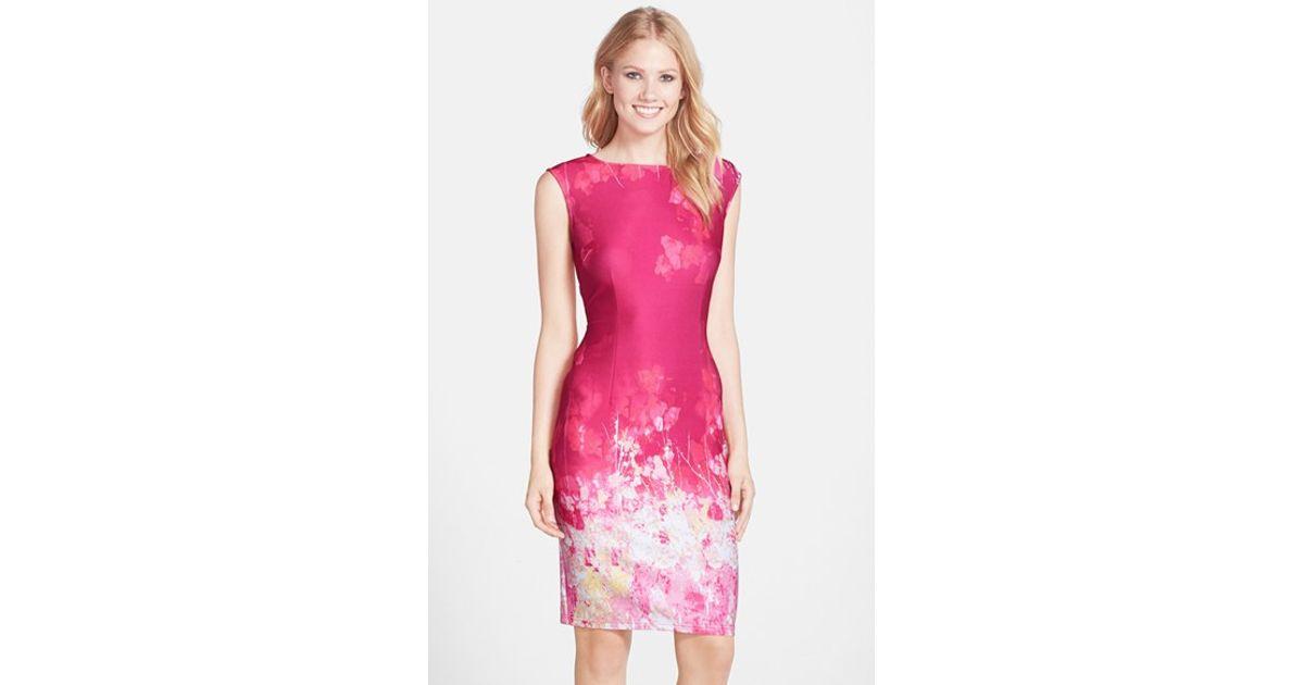 7a067b2a045 Adrianna Papell Pink Floral Border Print Scuba Sheath Dress
