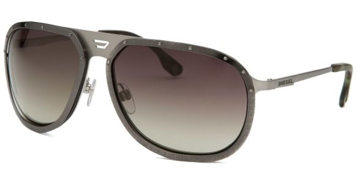 dd6add4f37 Lyst - Diesel Mens Aviator Gunmetal Sunglasses in Gray for Men