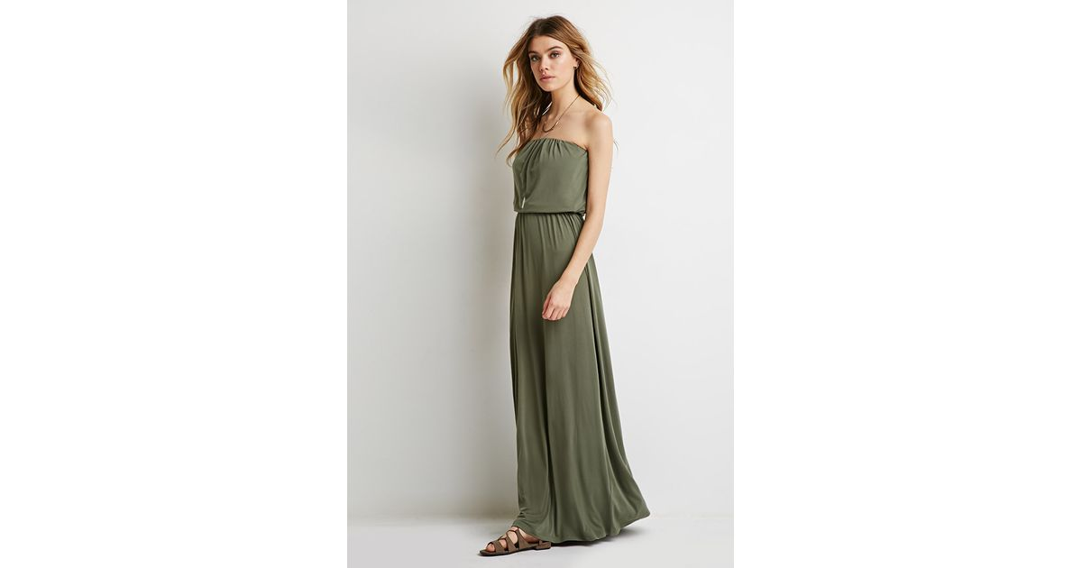 Lyst - Forever 21 Strapless Maxi Dress in Green