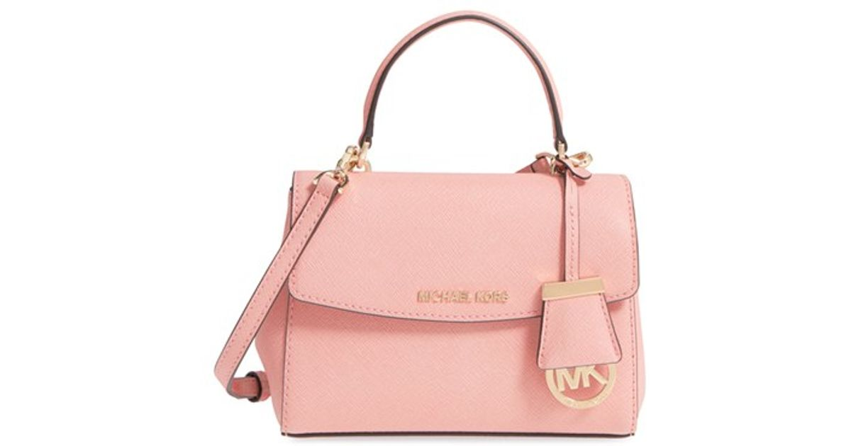 5d04d0f1ce4a Lyst - MICHAEL Michael Kors  extra Small Ava  Leather Crossbody Bag in Pink