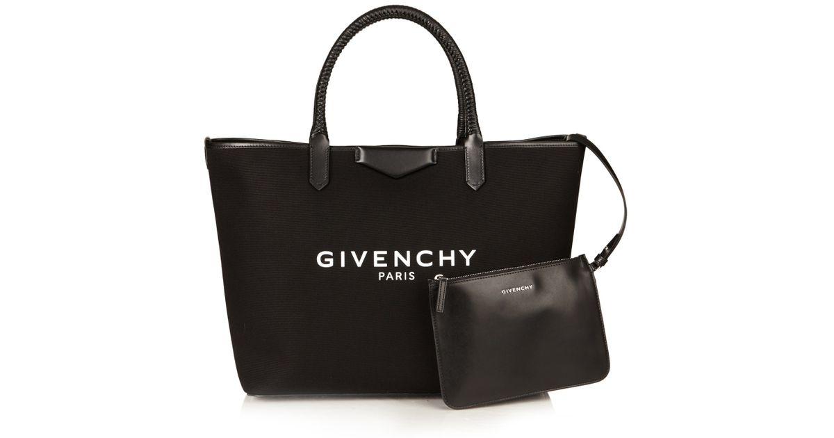 c7a7f7f8212c Lyst - Givenchy Antigona Large Canvas Tote in Black