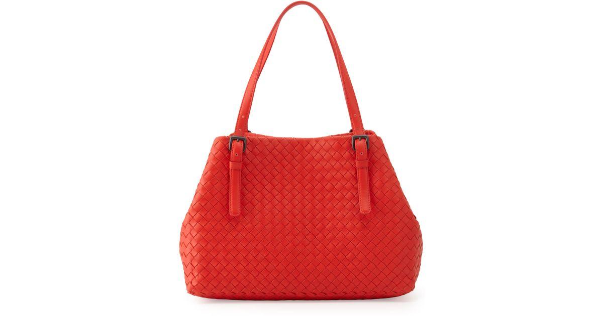 91ba5aee25 Lyst - Bottega Veneta Intrecciato Medium A-shaped Tote Bag in Red