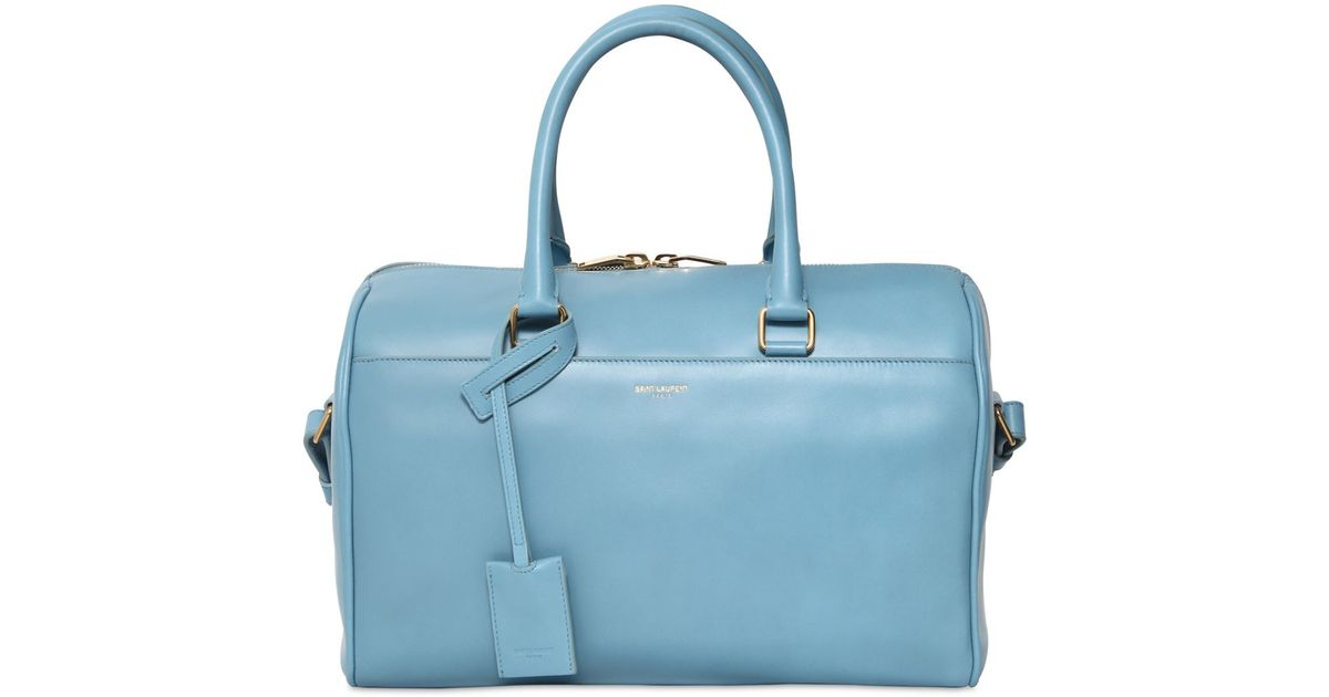 Saint laurent Duffle 6 Brushed Leather Top Handle Bag in Blue ...