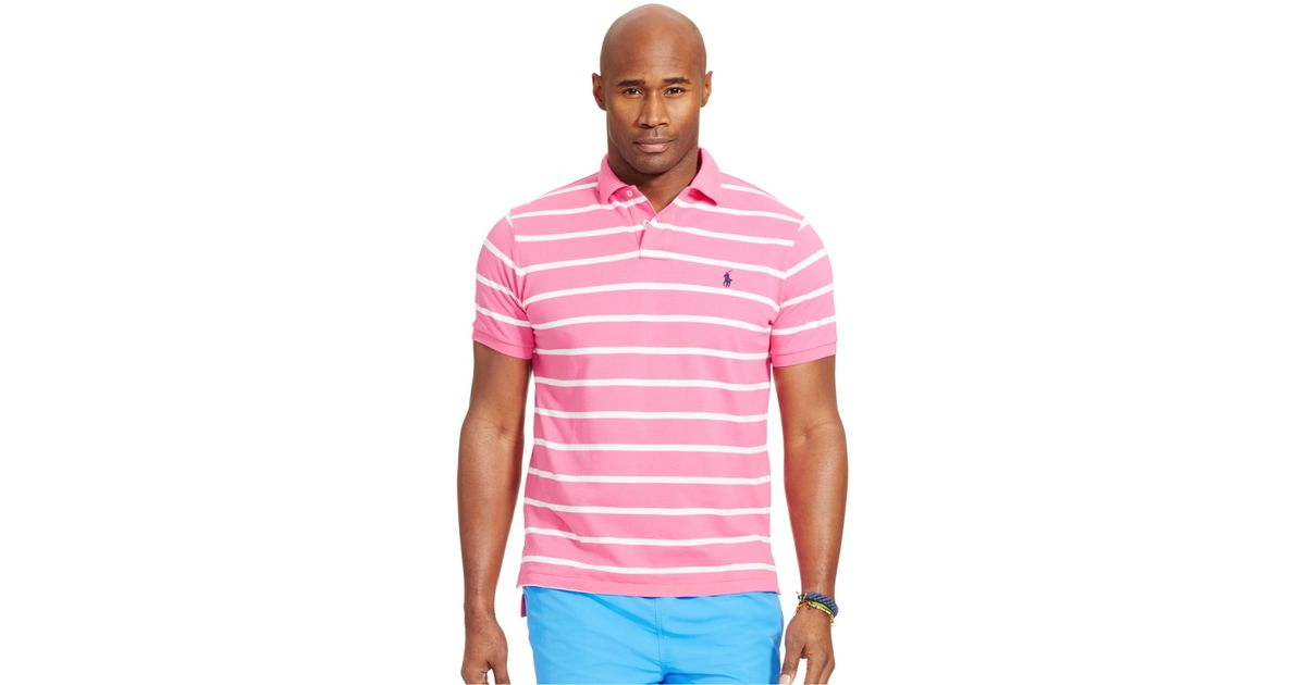 Polo ralph lauren men 39 s big and tall striped mesh polo for Pink and white ralph lauren shirt