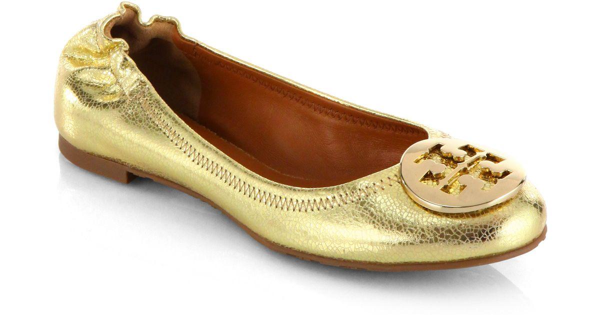 d37d1e00a45f5 Lyst - Tory Burch Reva Crackled Metallic Leather Ballet Flats in Metallic