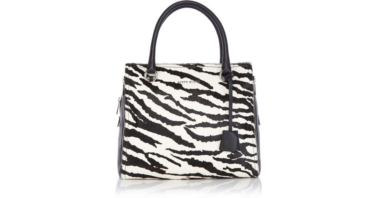 Karen Millen Black Large Graphic Zebra Box Bag